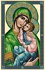 Mary and Child Jesus -Vatican Design(Green) - Cross Stitch Chart