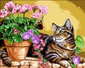 Cat and Flowers - Cross Stitch Chart