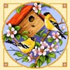Birdhouse 1 (Gold Finches) - Cross Stitch Chart