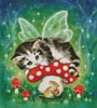 Kitten Fairy on Mushroom - Cross Stitch Chart