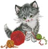 Kitten Playing with Wool - Cross Stitch Chart