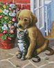 Labrador Pup and Kitten - Cross Stitch Chart