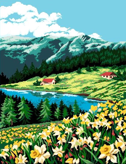Daffodils by the Mountainside - Cross Stitch Chart - Click Image to Close