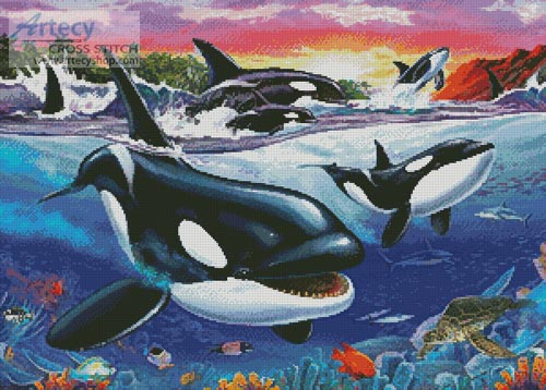 Killer Whales - Cross Stitch Chart - Click Image to Close