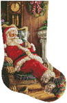 Santa Resting Stocking (Right) - Cross Stitch Chart