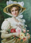 Elegant Lady with a Bouquet of Roses - Cross Stitch Chart