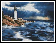 Lighthouse in a Storm - Cross Stitch Chart