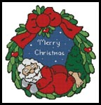 Sleeping Santa Wreath - Cross Stitch Chart