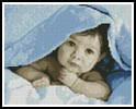 Mini Baby Face (Blue) - Cross Stitch Chart