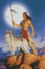 Native American and Wolf - Cross Stitch Chart