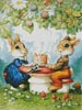 Rabbits and Birthday Cake - Cross Stitch Chart
