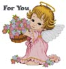 Cherub with a Bucket of Flowers - Cross Stitch Chart