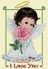 Cherub's Rose, I Love You Sampler - Cross Stitch Chart