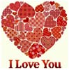 I Love You, Red Hearts Sampler - Cross Stitch Chart