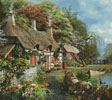 Riverside Home in Bloom (Cushion) - Cross Stitch Chart