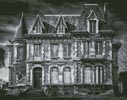 Spooky House (Black and White) - Cross Stitch Chart