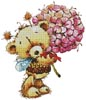 Teddy Bee with Flowers - Cross Stitch Chart