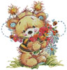 Teddy Bee with Flowers 2 - Cross Stitch Chart