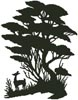 Tree and Deer Silhouette - Cross Stitch Chart