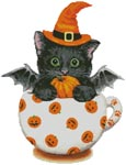 Halloween Kitty Cup - Cross Stitch Chart
